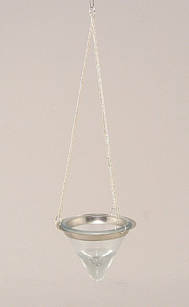 """Picture of Hanging Votive Holder Clear Cone Glass on Silver Chain 3""""Dx11""""H   #20990"""