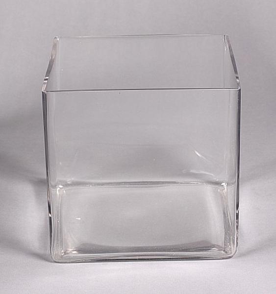 "Picture of Clear Glass Container Cube Floral Arrangement Centerpiece  | 8""x8""x8""H |  Item No. 18051"
