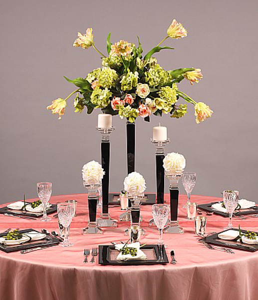 Picture of Tablescape with Black Crystal Candle Holders #20251