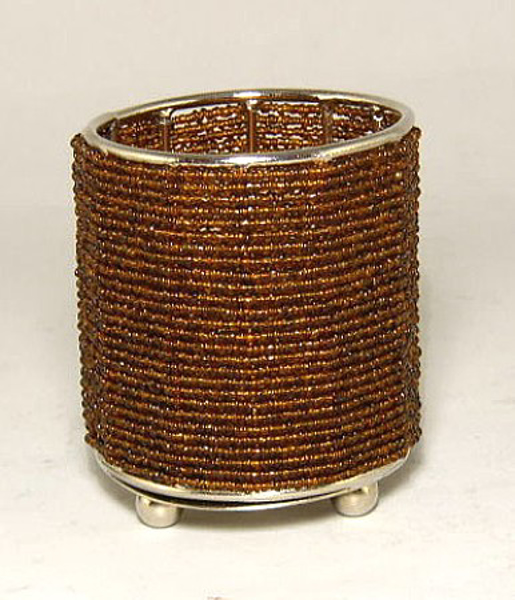 """Picture of Votive Candle Holder Brown Bead on Three Ball Feet I 2.75""""Dx3.5""""H I #20434"""