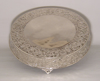 """Picture of Nickel Plated on Metal Cake Stand Round Embossed Top Border and Side 