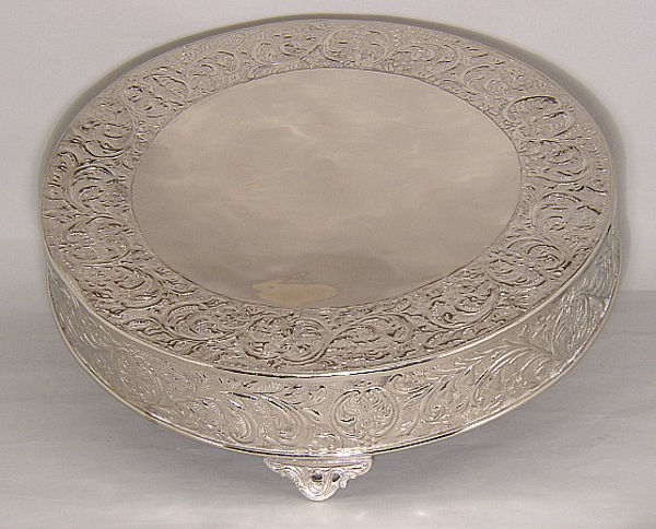"Picture of Nickel Plated on Metal Cake Stand Round Embossed Top Border and Side | 24""Dx6""H 