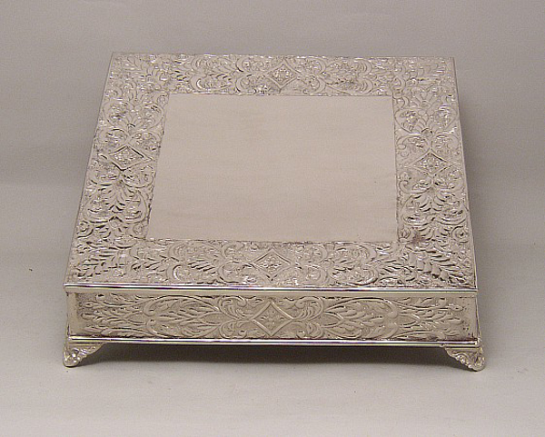 """Picture of Nickel Plated on Metal Cake Stand Square Embossed Top Border and Side 