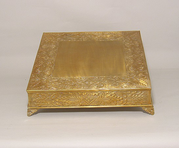 """Picture of Antique Gold Finish on Metal Cake Stand Square Embossed Top Border and Side 