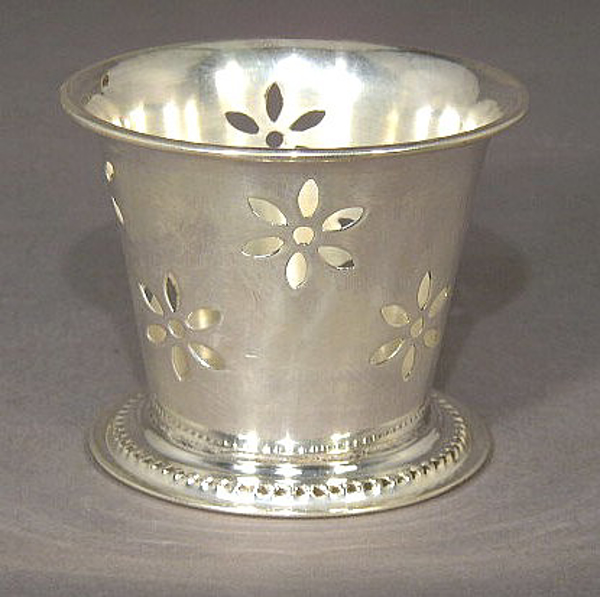 """Picture of Votive Candle Holder Silver Plated on Brass 3""""Dx2.75""""H  #79640"""