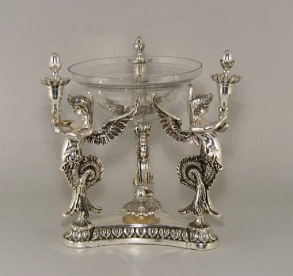 """Picture of Bowl Glass in 3-Fairy Silver Pedestal Stand + Decorative Ring 