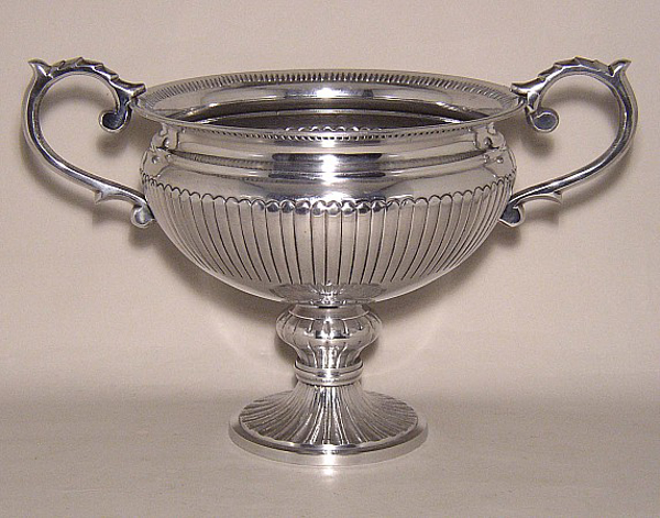 "Picture of Silver Color Bowl with Round Base & Ornate Handles | 12""Dx11""H 