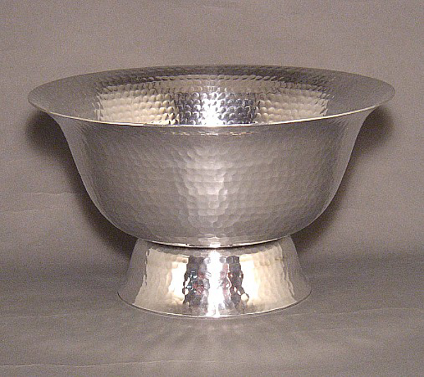 """Picture of Silver Color Bowl with Low Pedestal & Hammered Design   10""""D x 5.75""""H   Item No. 51422"""