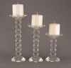 """Picture of Crystal Candle Holder Faceted Balls Stem for Pillar or Taper Candles Set/3  
