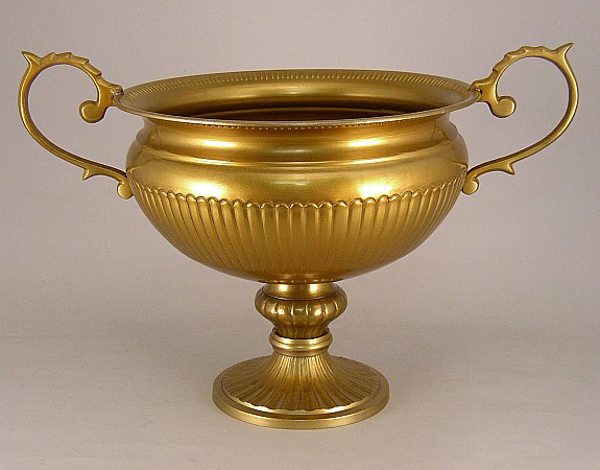 """Picture of Antique Gold Bowl with Pedestal, Round Base & Handles 