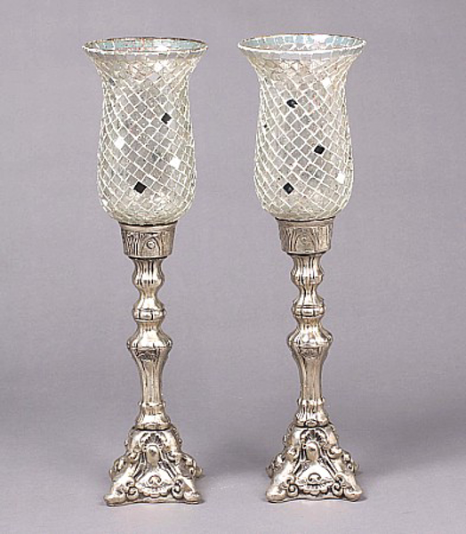 """Picture of Silver Plated on Brass Candle Holders Square Mosaic Shades Set/2  