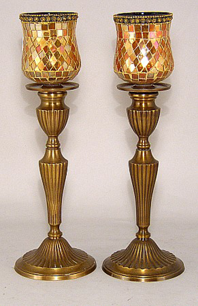 """Picture of Antique Gold Patina on Brass Candle Holder with Mosaic Peg Votives  Set/2 