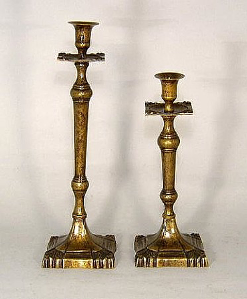"""Picture of Antique Gold Patina on Brass Candle Holder Square Base  Set/2   11"""" & 13.5""""H    Item No. K65511"""