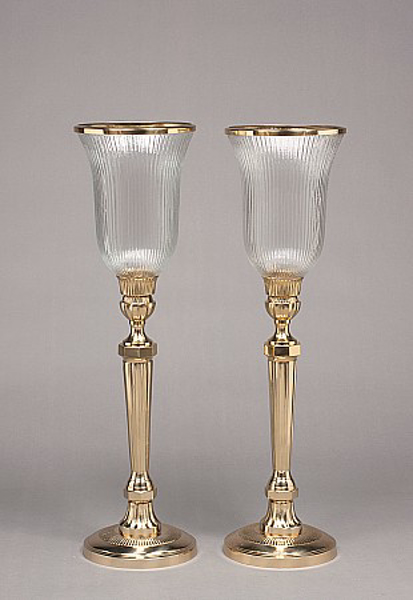 """Picture of Brass Candle Holders Shiny & Fluted Clear Glass Shades Set/2    8""""Dx30""""H    Item No. K99196"""