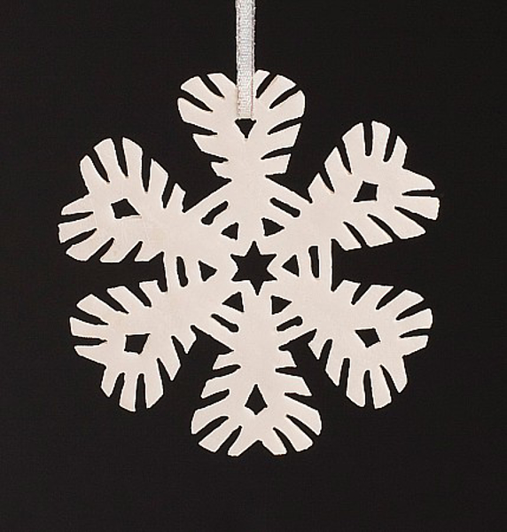 """Picture of White Stone Snowflake Ornament Hand Carved from 3mm Thick Wafer    3.5""""Diameter    Item No. WS003"""
