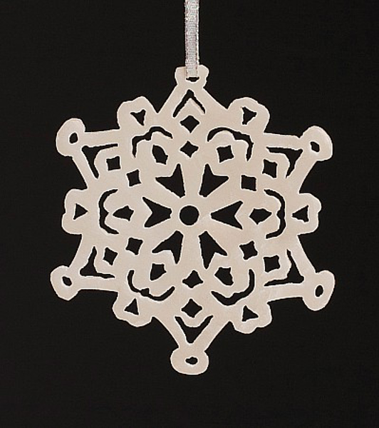 """Picture of White Stone Snowflake Ornament Hand Carved from 3mm Thick Stone Wafer  