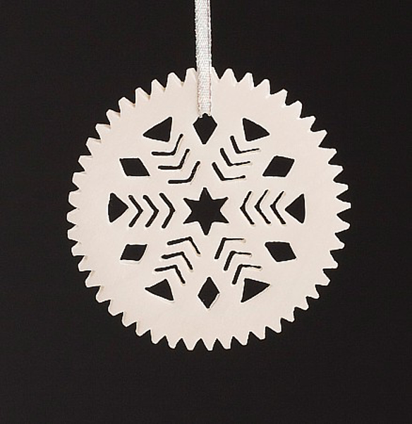 """Picture of White Stone Snowflake Ornament Hand Carved from 3mm Thick Wafer  