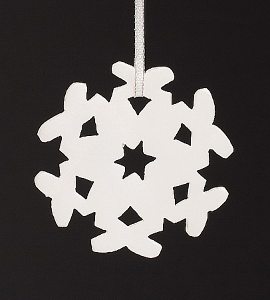 "Picture of White Stone Snowflake Ornament Hand Carved from 3mm Thick Wafer  | 3""Diameter 