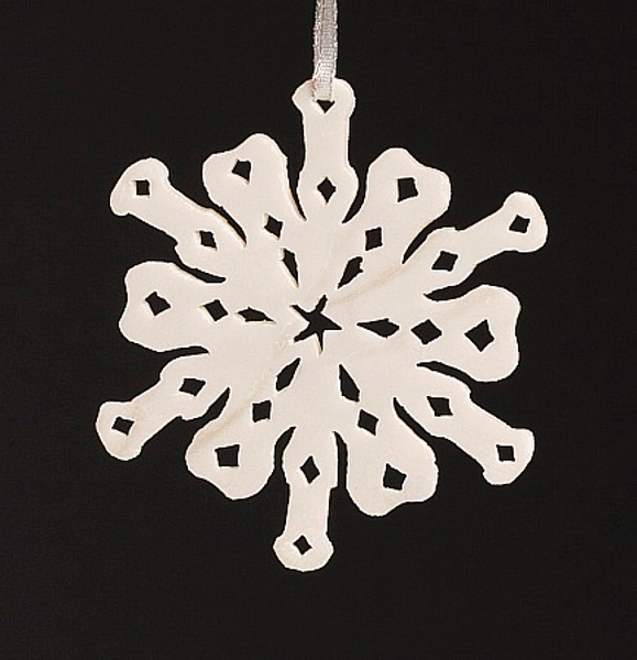 """Picture of White Stone Snowflake Ornament Hand Carved from 3mm Thick Wafer    3.5""""Diameter    Item No. WS015"""