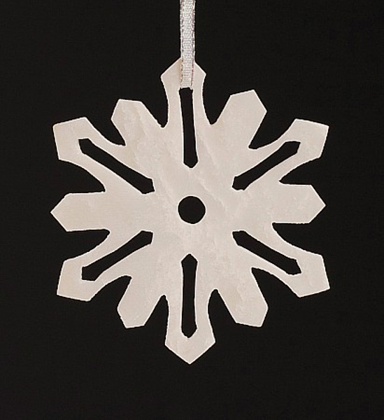 "Picture of White Stone Snowflake Ornament Hand Carved from 3mm Thick Wafer  | 3.5""Diameter 