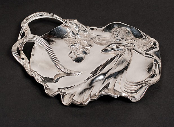 """Picture of Tray Silver Plated on Cast Brass  Antique Reproduction    12""""x10""""x3""""H    Item No. 29101"""