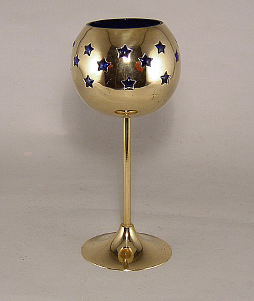 """Picture of Blue Glass in Brass Ball with Star Perforations Tall Stem Votive Candle Holder   4.0""""D x 9.0""""H   #90518"""