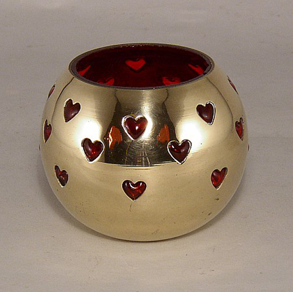 "Picture of Red Glass in Brass Ball with Heart Perforations Flat Base Votive Candle Holder | 4.0""D x 3.25""H 