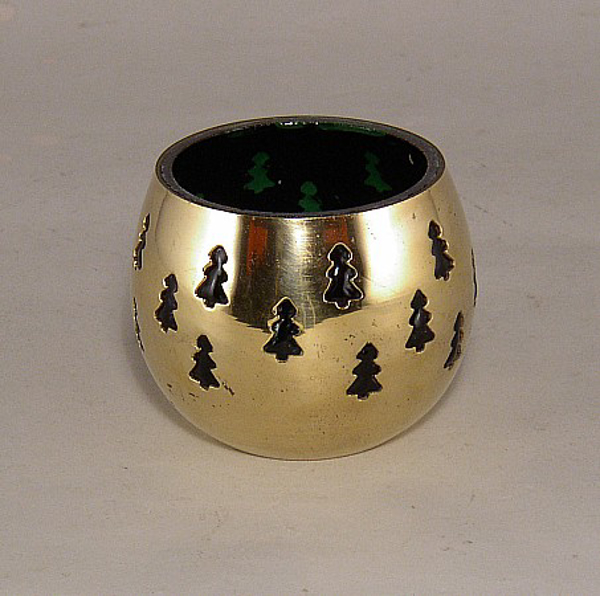 """Picture of Green Glass in Brass Ball with Tree Perforations Flat Base Votive Candle Holder 