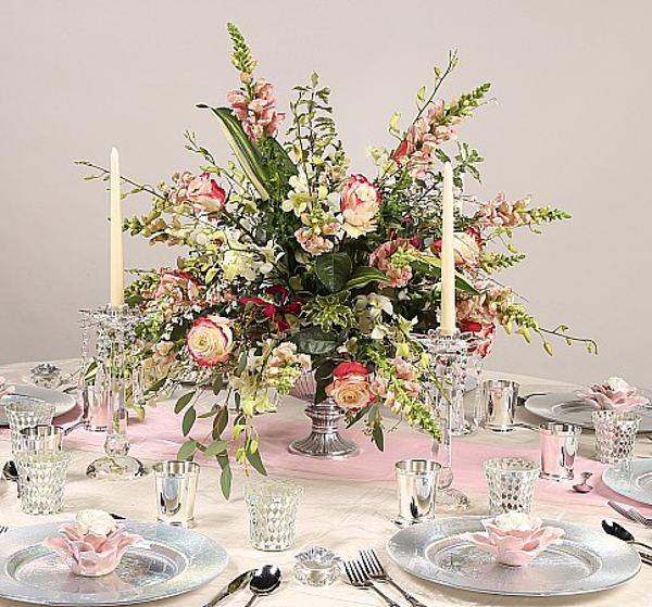 Picture of Tablescape with Aluminum Floral Bowl #51351