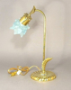 """Picture of Goose Neck Brass Electric Lamp with Blue Tulip Glass Shade 
