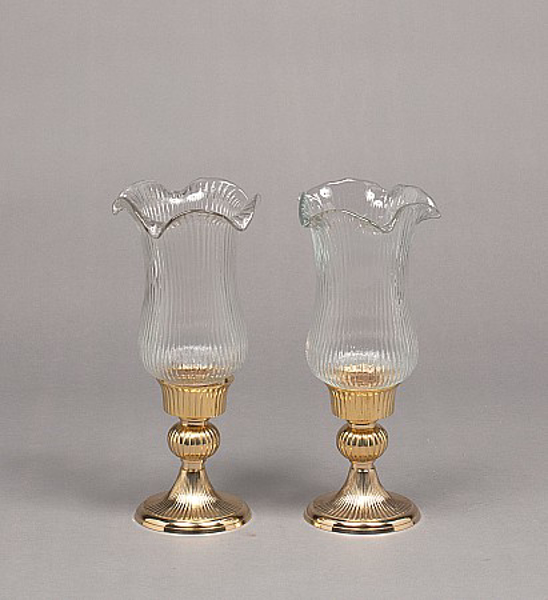 """Picture of Brass Candle Holders Round Fluted & Clear Wave Rim Glass Shades Set/2  