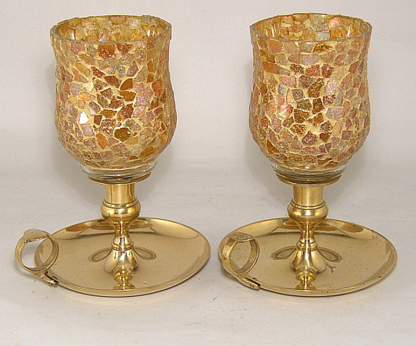 """Picture of Brass Candle Holders Ring Handle Gold Mosaic Peg Votives Set/2  