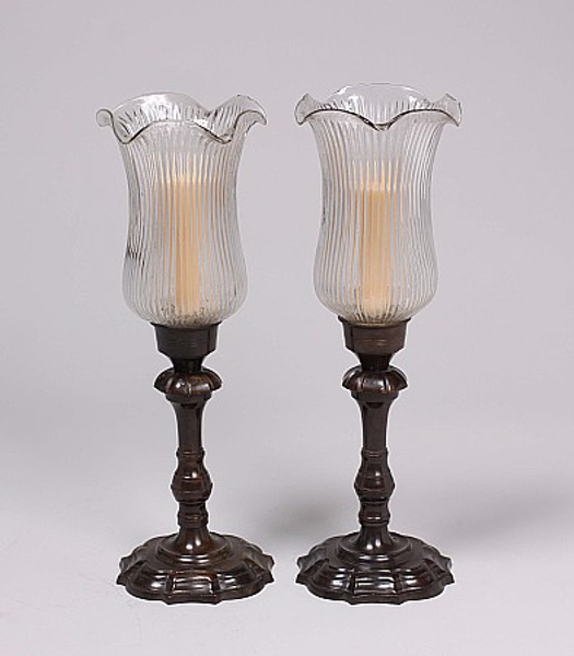 """Picture of Bronze Patina on Brass Candle Holders Fluted & Fluted Clear Glass Shades Set/2    5.5""""Dx16""""H    Item No. K76522"""