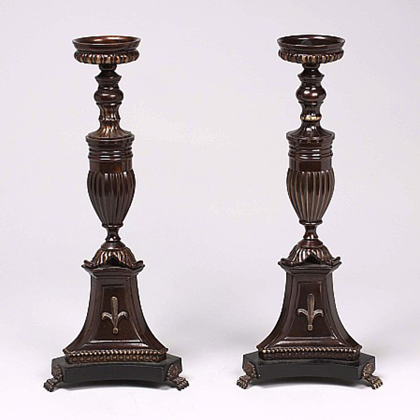 """Picture of Bronze Patina on Brass Candle Holders Triangle Base Embossed  Set/2  