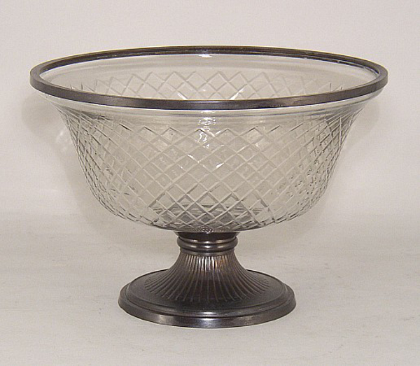 "Picture of Bowl Glass Mesh Cut Bronze Metal Base + Decorative Ring | 10.5""Dx7""H 