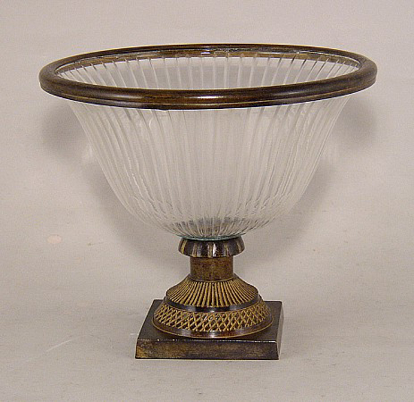 "Picture of Bowl Glass Lines Cut Brown Metal Base + Decorative Ring | 8""Dx7""H 