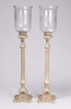 """Picture of Ivory Patina on Brass Candle Holders Embossed with Etched Glass Shades Set/2    7.5""""Dx35""""H    Item No. K52501"""