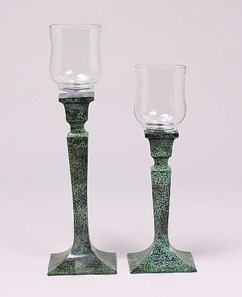 """Picture of Verdigris Patina on Brass Candle Holders with Glass Peg Votives Set/2  
