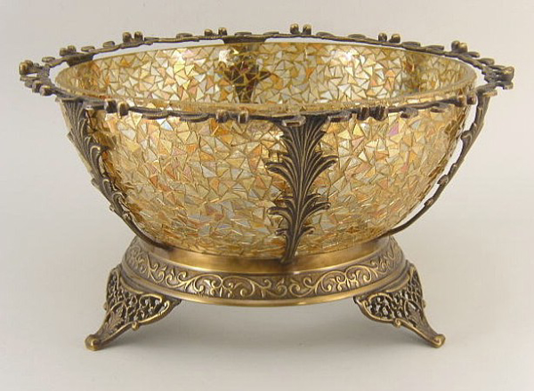 "Picture of Bowl Mosaic Glass Gold in Metal Stand | 13""Dx7""H 