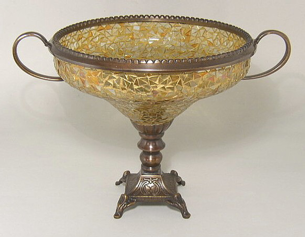 "Picture of Bowl Mosaic Glass Gold Metal Base and Handles | 10""Dx9""H 
