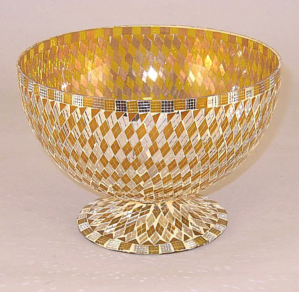 """Picture of Bowl Mosaic Glass Gold Diamond Mirror Chips 