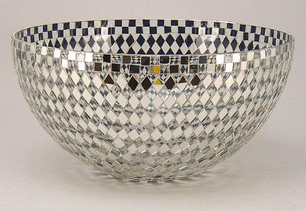 """Picture of Bowl Mosaic Glass Silver Diamond Mirror Chips 