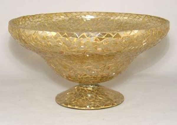 """Picture of Bowl Mosaic Glass Gold Triangle Chips 