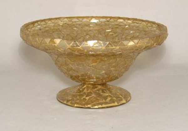 """Picture of Bowl Mosaic Glass Gold Triangle Chips   8""""Dx4""""H    Item No. K66603"""