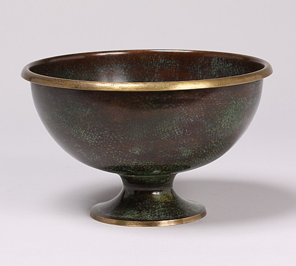 """Picture of Dark Green Bowl Round with Gold Border Rim  