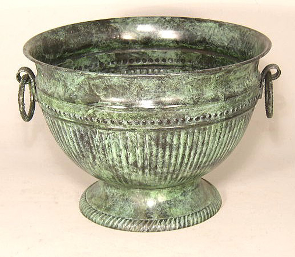 "Picture of Verde Green Bowl Round with Ring Handles  | 9.5""Dx6.5""H 