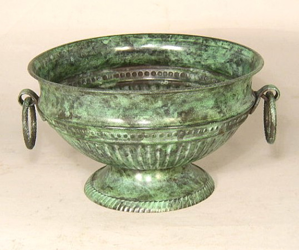 """Picture of Verde Green Bowl Round with Ring Handles    8""""Dx4.75""""H    Item No. K88312"""
