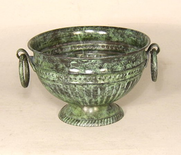 """Picture of Verde Green Bowl Round with Ring Handles    7""""Dx4.5""""H    Item No. K88313"""