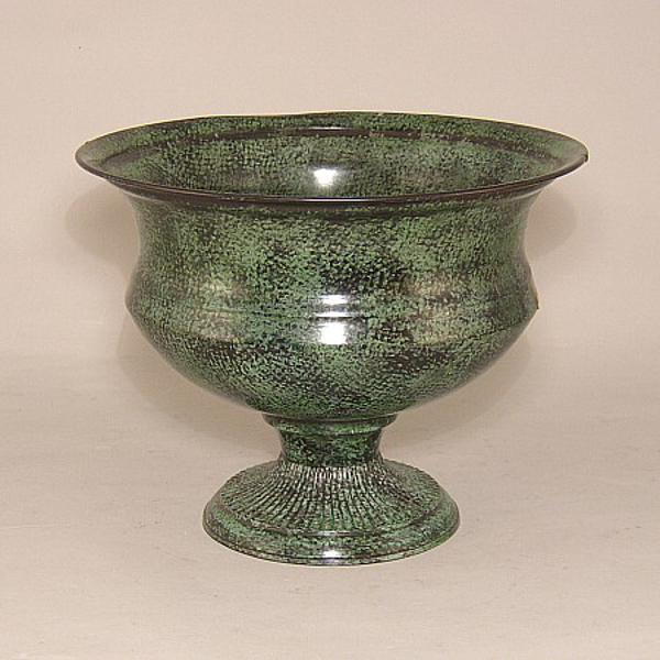 "Picture of Green Floral Bowl Round on Pedestal Base  |10""Dx7.5""H |  Item No. K17310"