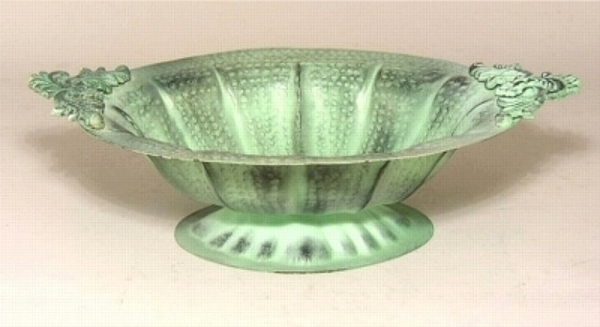 "Picture of Verde Green Oval Bowl with handles #K56356  12""x17""x4.5""H"
